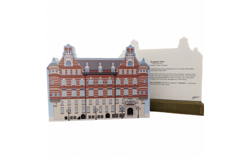 """Front & Back of the Beautifully detailed replica of Sherlock Holmes, Scotland Yard, Westminster, London, United Kingdom. Handcrafted in the USA 3/4"""" thick wood by Cat's Meow Village."""