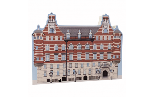 """Beautifully detailed replica of Sherlock Holmes, Scotland Yard, Westminster, London, United Kingdom. Handcrafted in the USA 3/4"""" thick wood by Cat's Meow Village."""