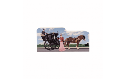 "Sherlock Holmes,Hansom Cab with Irene Adler, London, United Kingdom. Handcrafted in the USA 3/4"" thick wood by Cat's Meow Village."