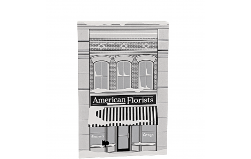 """American Florist, It's A Wonderful Life. Handcrafted in the USA 3/4"""" thick wood by Cat's Meow Village."""