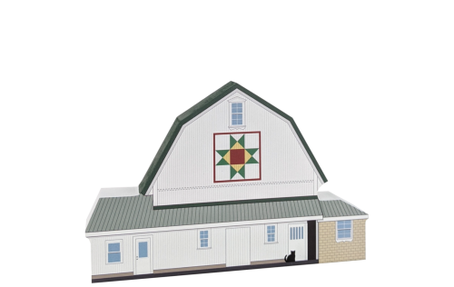 Fischer's Ohio Star Quilt Barn wood replica. Handcrafted by The Cat's Meow Village in Wooster, Ohio.