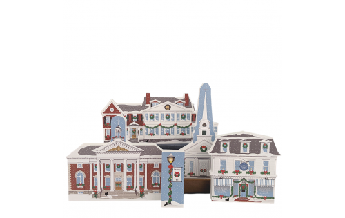 """Stowe, Vermont Christmas collection handcrafted in 3/4"""" thick wood by The Cat's Meow Village in the USA."""