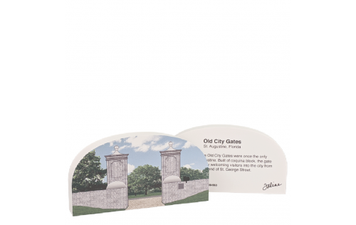 Front & Back of St. Augustine, Old City Gates, Florida.  Handcrafted by Cat's Meow Village in the USA
