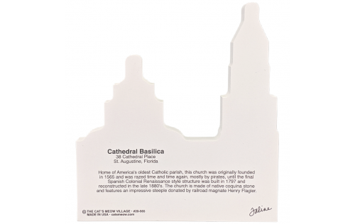 "Back description of St. Augustine, Cathedral Basilica, Florida. Handcrafted in the USA 3/4"" thick wood by Cat's Meow Village"