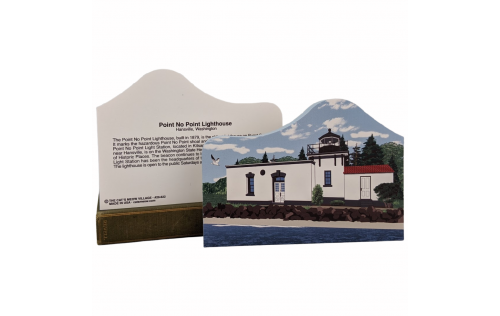 """Front & Back of Point No Point Lighthouse, Hansville, Washington.  Handcrafted in the USA 3/4"""" thick wood by Cat's Meow Village."""