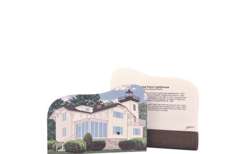 "Front & Back description of Hospital Point Lighthouse, Beverly Massachusetts. Handcrafted in the USA 3/4"" thick wood by Cat's Meow Village."