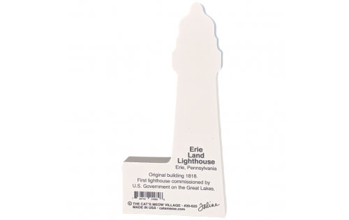 """Back description of Erie Land Lighthouse, Erie, Pennsylvania. Handcrafted in the USA 3/4"""" thick wood by Cat's Meow Village."""