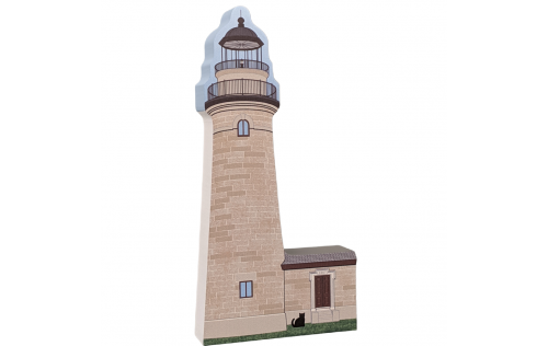 """Erie Land Lighthouse, Erie, Pennsylvania. Handcrafted in the USA 3/4"""" thick wood by Cat's Meow Village."""