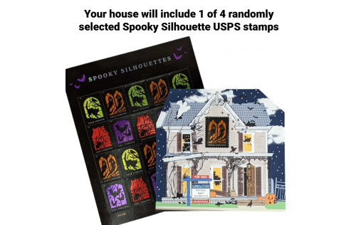 Your Haunted House includes a randomly selected 1 of 4 Spooky Silhouette USPS stamps. Handcrafted by The Cat's Meow Village in the USA.