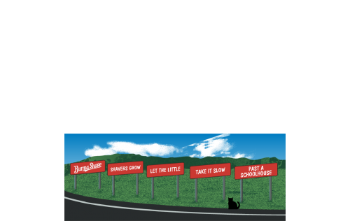 """Burma Shave Signs. Handcrafted in the USA 3/4"""" thick wood by Cat's Meow Village."""