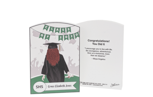 "Customize this grad gift with name, hairstyle, school colors and back story. Handcrafted in 3/4"" thick wood by The Cat's Meow Village in the USA."