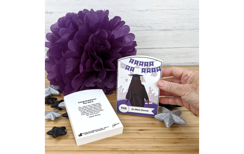 """Customize this grad gift with name, hairstyle, school colors and back story. Handcrafted in 3/4"""" thick wood by The Cat's Meow Village in the USA."""