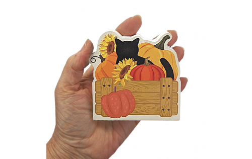 "Wouldn't this cute fall cat and pumpkins look cute on your workdesk or bookshelf? We handcraft it in 3/4"" thick wood in Wooster, Ohio."
