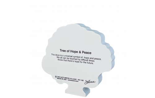 """Back of the Tree of Hope and Peace, handcrafted in 3/4"""" thick wood by Cat's Meow Village in the USA."""