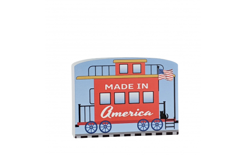 """Caboose for the Pride of America train Collection handcrafted in 3/4"""" thick wood by The Cat's Meow Village in the USA."""