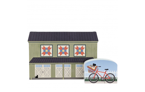 "Farmer's Daughter quilt block barn with the Quilt Bike handcrafted by The Cat's Meow Village in Wooster, Ohio. Made in 3/4"" thick wood to set on a shelf, ledge or windowsill."