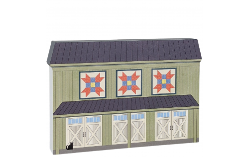 "Farmer's Daughter quilt block barn handcrafted by The Cat's Meow Village in Wooster, Ohio. Made in 3/4"" thick wood to set on a shelf, ledge or windowsill."