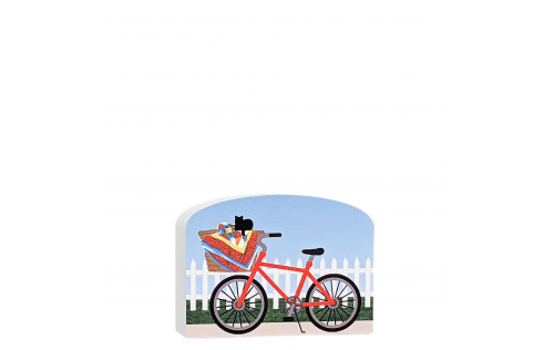 """Add this cute red bike carrying a newly finished quilt to your Cat's Meow Quilt Block Collection. Handcrafted in Wooster, Ohio of 3/4"""" thick wood."""