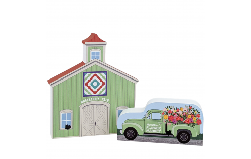 """Drunkard's Path Quilt Barn with Vintage Flower Market Truck. A purrfect combination for your home decor. Handcrafted in 3/4"""" thick wood by The Cat's Meow Village in the USA."""