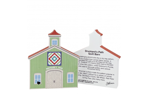 """Front and back of Drunkard's Path Quilt Barn crafted in 3/4"""" thick wood to decorate your bookshelf or sewing room wall. Handcrafted in the USA by The Cat's Meow Village. Look for our Casper black cat!"""