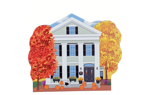 Wooden replica of Amanda Payson house in Salem, Mass, all decorated in autumn and fall colors. Handcrafted by The Cat's Meow Village in the USA.