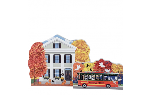 Wooden replica of Amanda Payson house and the Salem trolley in Salem, Mass, all decorated in autumn and fall colors. Handcrafted by The Cat's Meow Village in the USA.