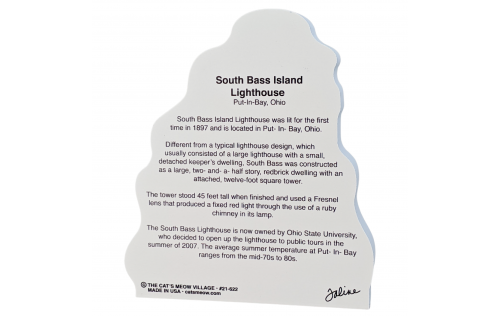 """Back description of South Bass Island Lighthouse, Put-In-Bay, Ohio.  Handcrafted in the USA 3/4"""" thick wood by Cat's Meow Village"""