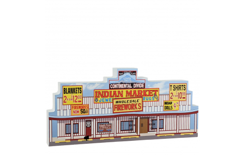 """Colorful replica of RT 66-Continental Divide Trading Post, New Mexico. Handcrafted in the USA 3/4"""" thick wood by Cat's Meow Village. H"""