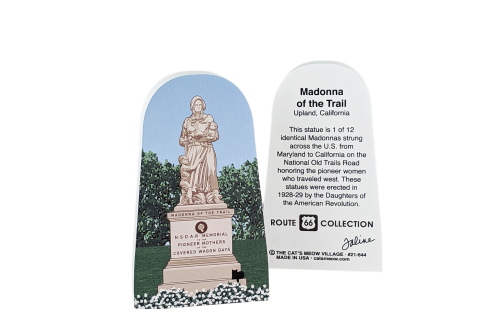 Front and back of the wooden souvenir of Madonna of the Trail statue handcrafted by The Cat's Meow Village in the USA.