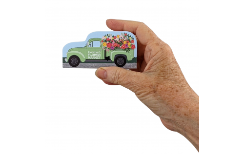 """Vintage Flower truck you can personalize and instantly own your very own flower business. Handcrafted in the USA  from 3/4"""" thick wood by The Cat's Meow Village."""