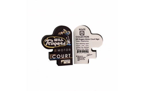 """Front & Back of Miniature handcrafted replica of the Will Rogers Motor Court neon sign for your home decor. Handcrafted in 3/4"""" thick wood in our Wooster, Ohio workshop. The Cat's Meow Village."""