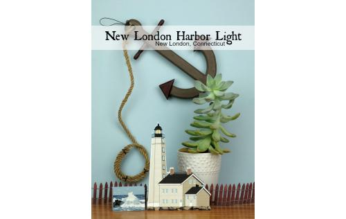 New London Harbor Light handcrafted as a wooden keepsake by The Cat's Meow Village