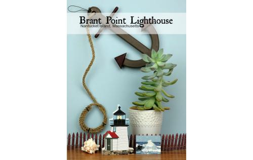 Wooden shelf sitter décor of the Brant Point Lighthouse handcrafted in the U.S. by The Cat's Meow Village.
