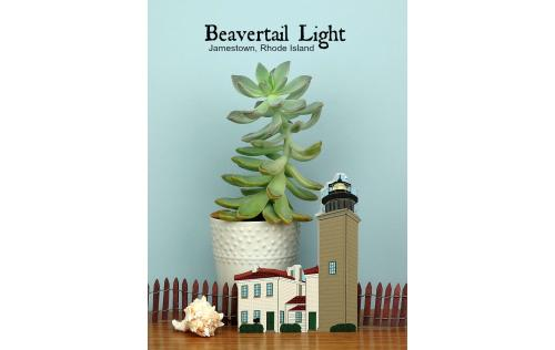 Handcrafted wooden keepsake of Beavertail Light created by The Cat's Meow Village