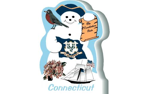 Connecticut State Snowman handcrafted by The Cat's Meow Village and made in the USA.