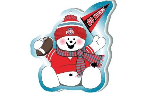 Ohio State football fan all decked out in his scarlet and gray ready to cheer on the Bucks. Handcrafted in Wooster, OH by The Cat's Meow Village.