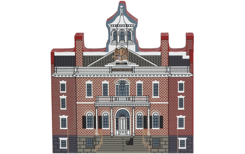 "Vintage U.S. Custom House from Historic Salem Series handcrafted from 3/4"" thick wood by The Cat's Meow Village in the USA"