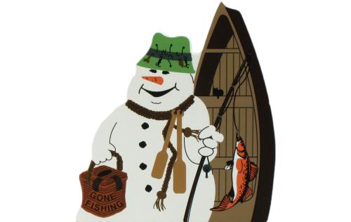 Gone Fishing Snowman, fishing pole, bait