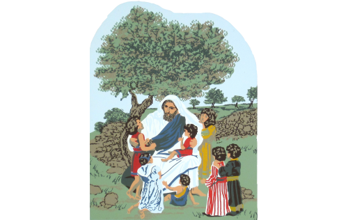 """Jesus & the Children - Mark 9:35-37 handcrafted in 3/4"""" wood by The Cat's Meow Village"""
