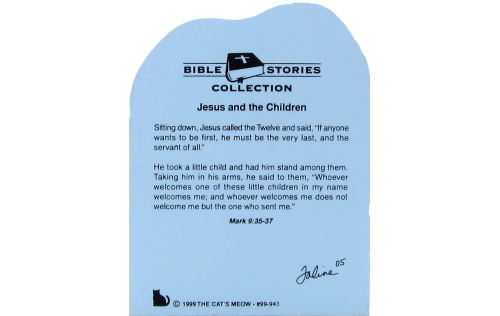 Back of Jesus & the Children showing Bible verse