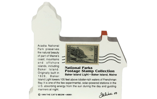 Back of wooden Cat's Meow keepsake of Baker Island Light in Acadia Natl. Park showing the vintage 7 cent U.S. Postage stamp