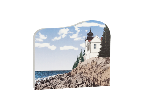 "Bass Harbor Head Light Station in Acadia National Park, handcrafted in 3/4"" thick wood with colorful details on the front and history on the back. Made by Cat's Meow Village in Wooster, Ohio."
