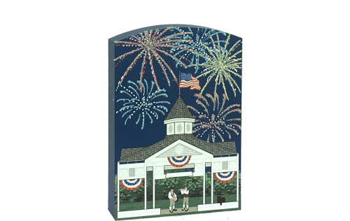 Glittery fireworks fill the night sky as a fife and drum play. Handcrafted in the USA by The Cat's Meow Village