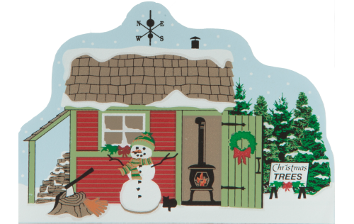 Christmas, snowman, wood shed, wood stove, christmas decorations