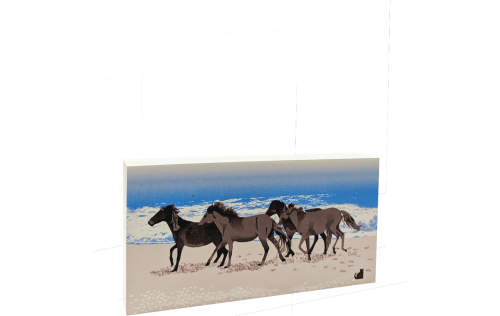 "Wild Horses On The Beach on the Outer Banks, Corolla, North Carolina. Handcrafted in 3/4"" thick wood by The Cat's Meow Village in the USA."