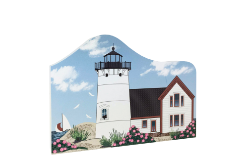 """Replica of  Stage Harbor Lighthouse in Chatham, Massachusetts. Handcrafted of 3/4"""" thick wood by The Cat's Meow Village in the USA."""