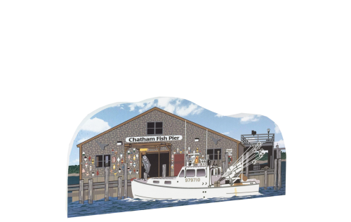 Wooden replica of Chatham Fish Pier in Chatham, Massachusetts. Handcrafted by The Cat's Meow Village in the USA.