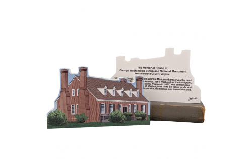 """Front & Back of Beautifully detailed replica of George Washington Birthplace National Monument, Virginia.  Handcrafted in the USA 3/4"""" thick wood by Cat's Meow Village."""