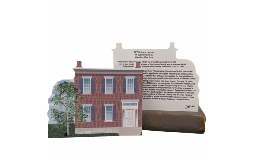 """Front & Back of Lovely detailed replica of Mary Ann M'Clntock House NPS, Waterloo, New York. Handcrafted in the USA 3/4"""" thick wood by Cat's Meow Village."""
