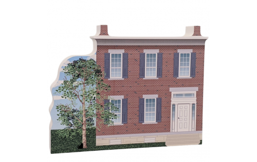 """Lovely detailed replica of Mary Ann M'Clntock House NPS, Waterloo, New York. Handcrafted in the USA 3/4"""" thick wood by Cat's Meow Village."""